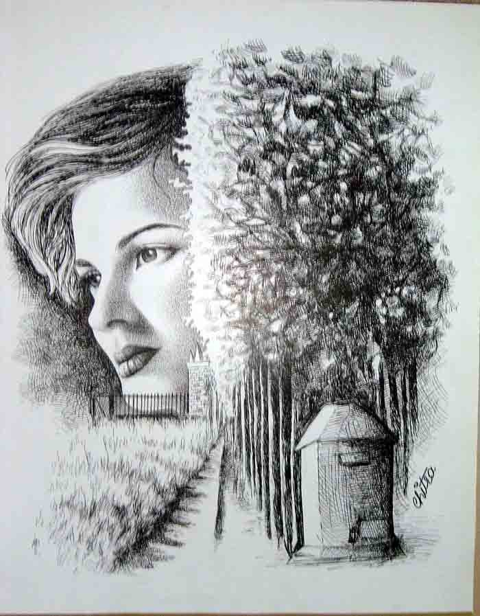 Orginal Pen and Ink Drawing by Chitra